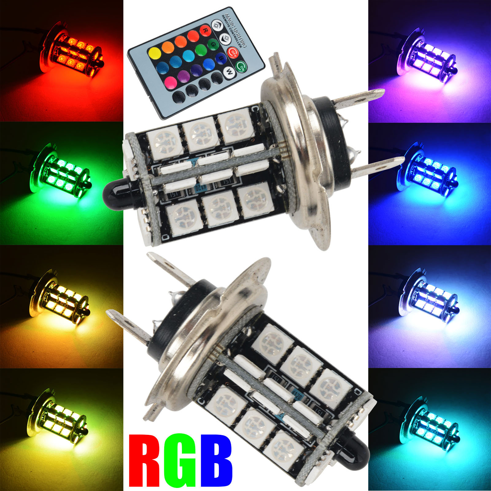 Mayitr 2pcs RGB LED Car Headlight H7 5050 27 SMD LED Decoration DRL Fog Light Head Lamp Bulbs +  Wireless Control Remote DC 12V free shipping 1pcs lot 42wled street light e26 27 e39 40 led base rotation 360 degress ac85 265v input voltage ip54 ce rohs
