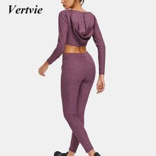 Vertvie Drawstring Sports Set Running Set Leggings Sweat Suits Female High Waist Tightening Solid 2018 New Women's Running Sets(China)
