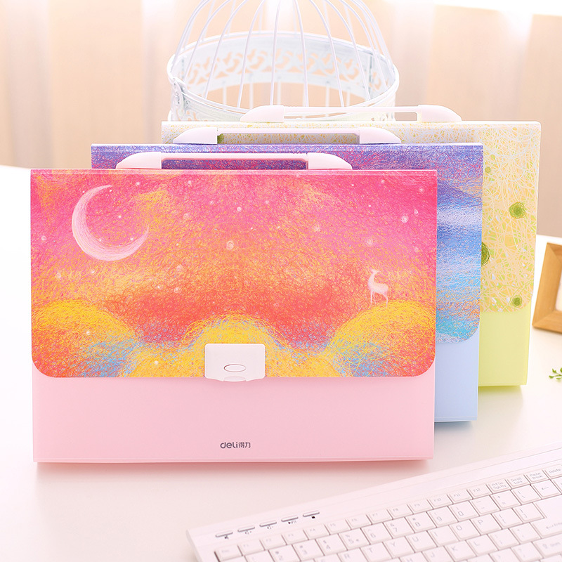 Kawaii Rainbow Elk A4 Expanding Wallet File Folder Organizer Girl Student Gift Document Bag Box Cute Office Stationery Supplies