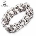 Kalen nuevas pulseras de cadena de la bici de los hombres gruesos pesados de alta pulido de acero inoxidable 316 pulseras de cadena de bicicleta masculino accesorios regalos