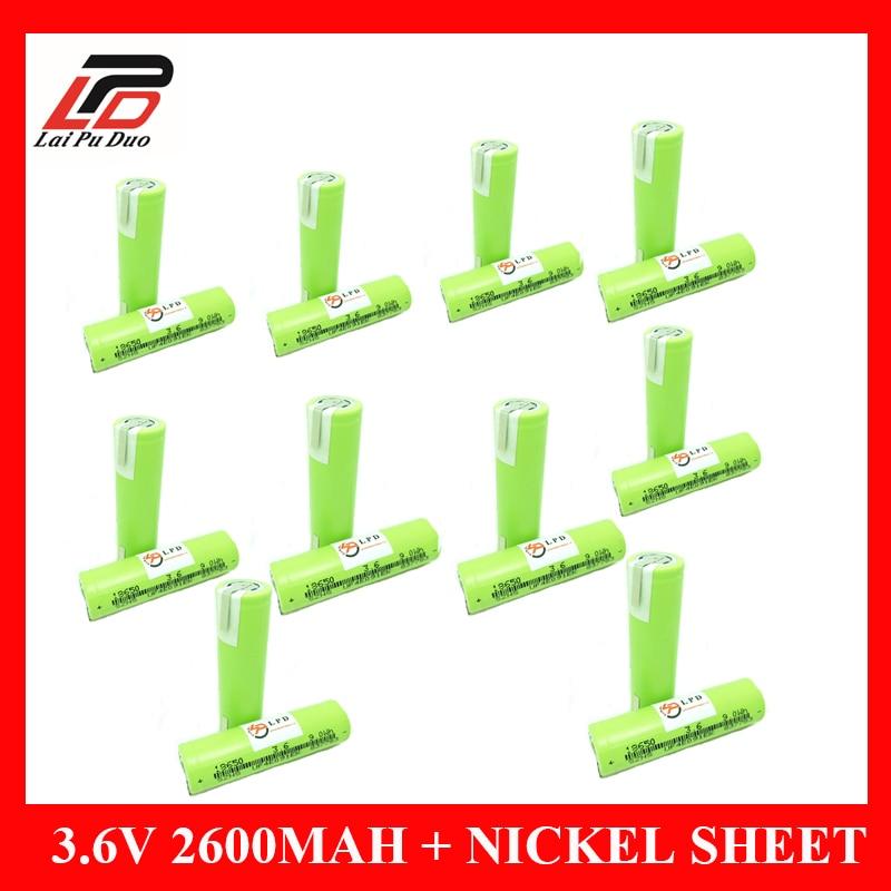 100% D'origine 2600 mAh 3.6 V Rechargeable Batterie De Soudage Feuille De Nickel batteries 18650 Au Lithium pour ZhuoNeng
