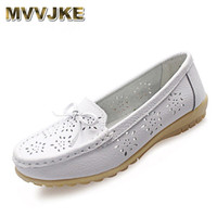 MVVJKE Women Genuine Leather Shoes Casual Slip On Ballet Women Flats Cut Out Floral Printing Moccasins
