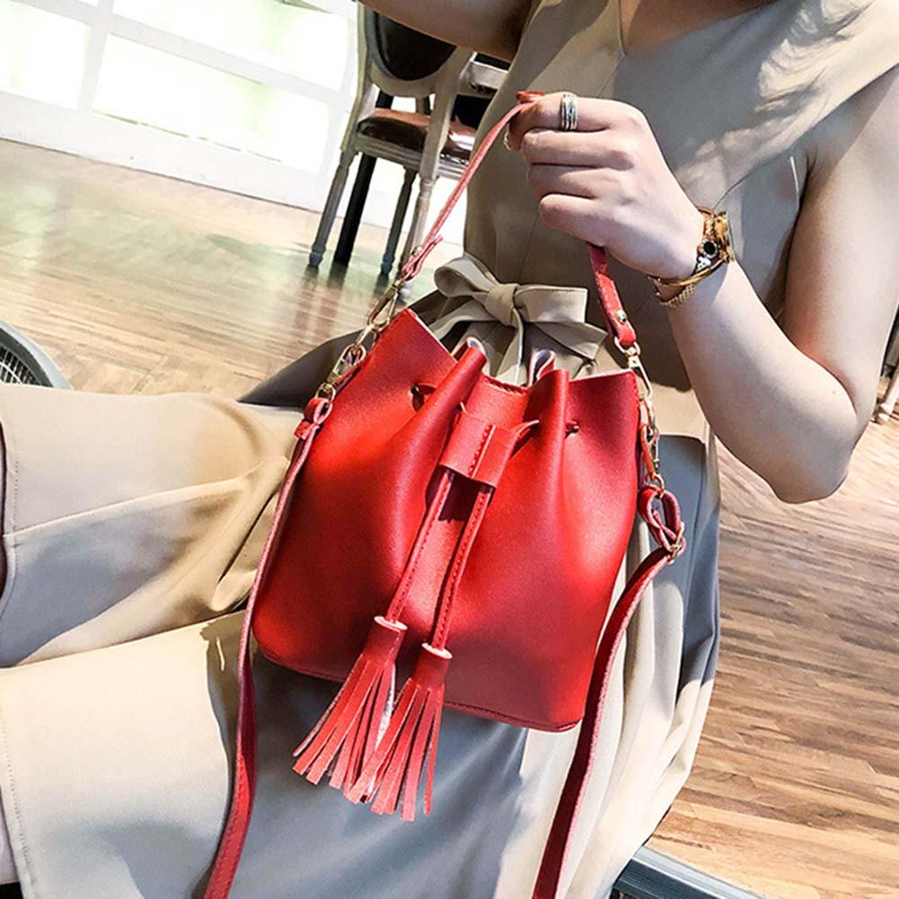 Women Bucket Bag Handbag Tassel Drawstring Small Messenger PU Leather Crossbody Bags NewWomen Bucket Bag Handbag Tassel Drawstring Small Messenger PU Leather Crossbody Bags New