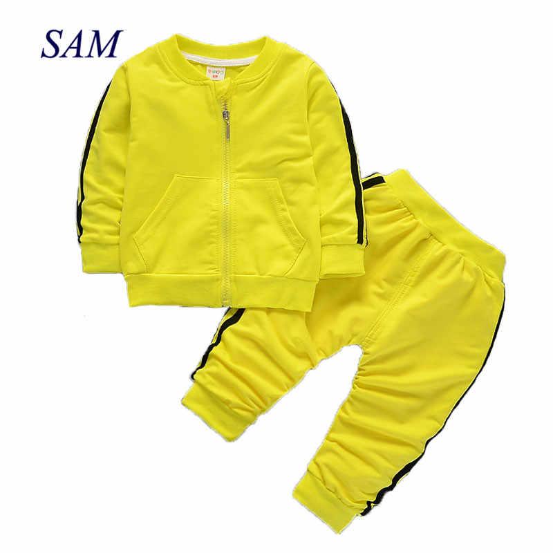 ab0f28b4e Conjunto de ropa para niños y niñas 2019 otoño primavera manga larga carta  coche estampado conjunto