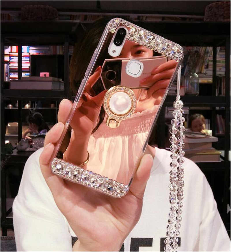 For Samsung Galaxy C9 C10 Pro A6 A8 A7 A5 A3 , Luxury Diamond Soft Mirror With Ring Case For Samsung J3 J5 J6 J7 J8 Case