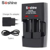 Soshine 2 sloty RCR123 CR123 CR2 szybka inteligentna ładowarka litowo jonowa ze wskaźnikiem LED dla 14250 CR2 16340 17335 15266 bateria w Ładowarki od Elektronika użytkowa na