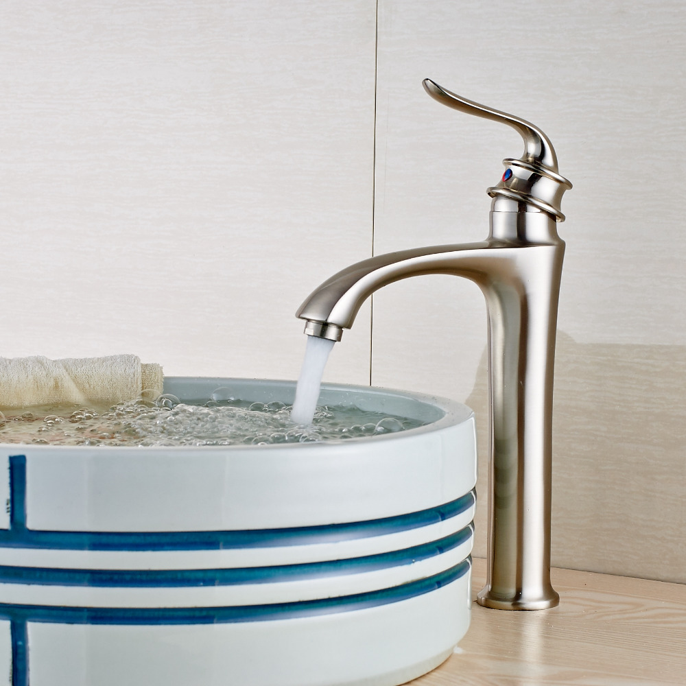 ФОТО Brushed Nickel Solid Brass Bathroom Basin Faucet Single Handle Hole Sink Mixer