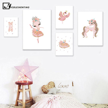 Unicorn Swan Ballerina Gambar Balet Princess Nursery Poster Dinding Art Lukisan Nordic Anak Bayi Dekorasi Kamar Tidur Leather Bag