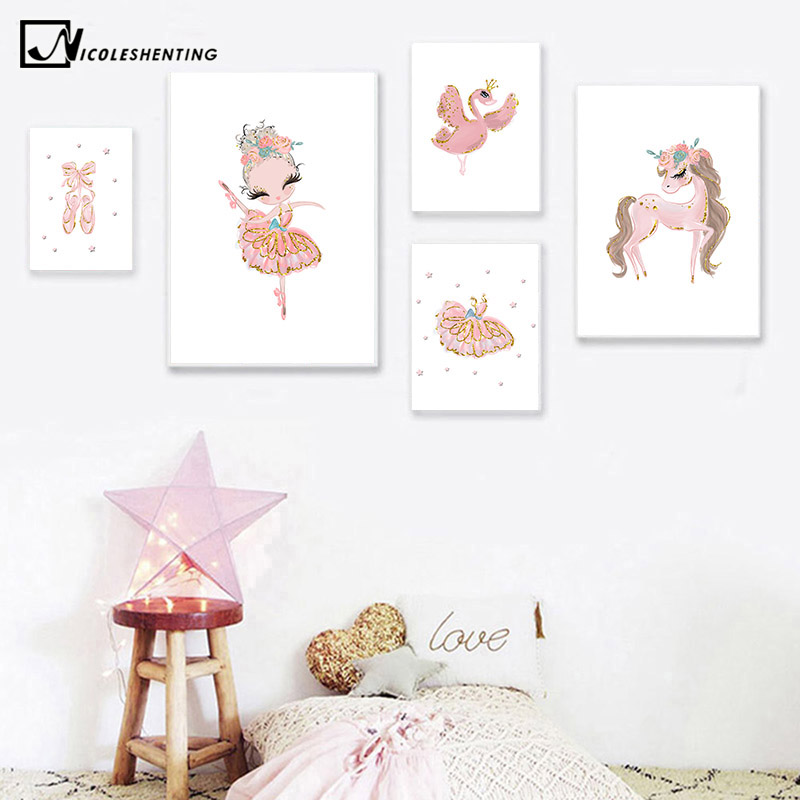 Unicorn Swan Ballerina Picture Ballet Princess Nursery Poster Wall Art Canvas Print Painting Nordic Baby Kid Bedroom Decoration