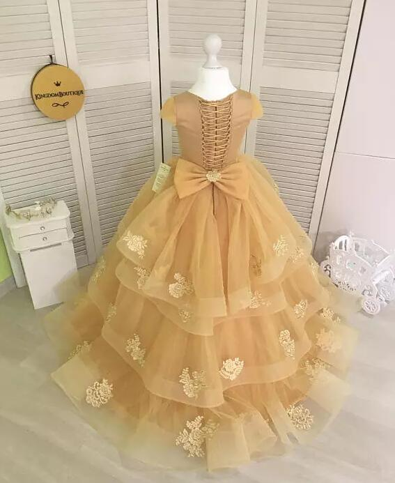 все цены на New Champagne Lace Flower Girl Dresses For Wedding with Bow Applique Lace Up Back Girls Pageant Gown Formal Wear