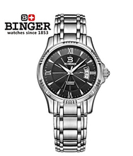 Luxury Royal Carve Rolojes de marca White Gold Case Binger Auto Mechanical Genuine Men Self Wind Skeleton Watch Black Wristwatch(China)