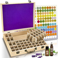 68 Slots Bamboo Wood Essential Oil Bottle Portable Storage Box WXV Sale