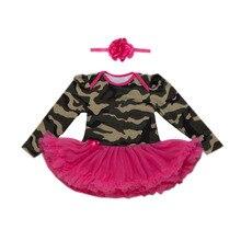 Комплект из 2 предметов, красное и зеленое платье-пачка для новорожденных девочек Повседневный наряд в стиле милитари для маленьких девочек повязка на голову для детей 0-24 лет