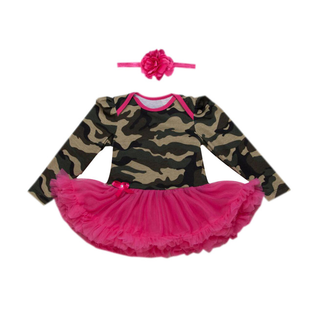 ecd17da8b 2PCs per Set Red Green Newborn Baby Girls Tutu Dress Military Style Pattern Infant  Girl Daily Outfit Headband 0-24Motnths