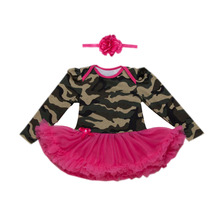 2PCs per Set Red Green Newborn Baby Girls Tutu Dress Military Style Pattern Infant Girl Daily Outfit Headband 0-24Motnths