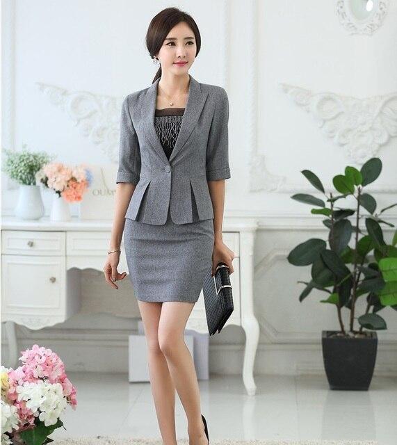 77718444b Profesional Primavera Verano OL Formal de Estilos Mujer Chaquetas Y Trajes  de Falda de Las Mujeres