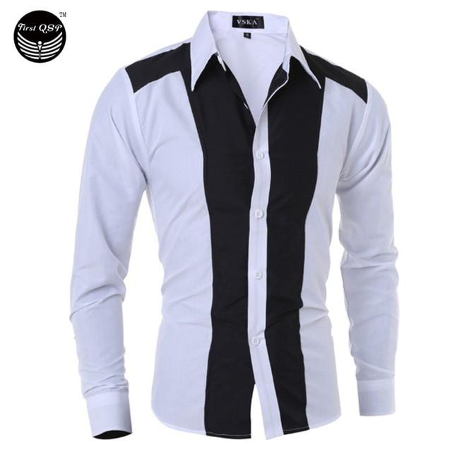 Camisa de los hombres 2017 de Los Hombres Marca Moda Grandes Rayas de Manga Larga Camisa Masculina Camisa Masculina Ocasional Delgada Masculina Camisas KMSDK