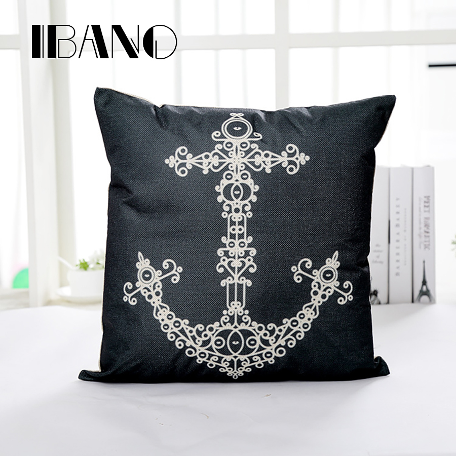 Boat Anchor Cushion Cover Cotton&Linen Car Sofa Chair Pillow Covers For Home Decorative 1PCS/Lot funda cojin 45*45cm