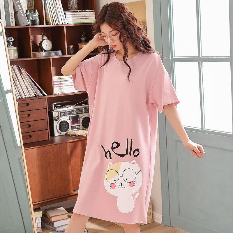 2019 Spring Summer Women   Nightgown   Cute Cartoon   Sleepshirts   Sleepwear Female Short Sleeve Night Dress Nightwear Plus Size 3XL