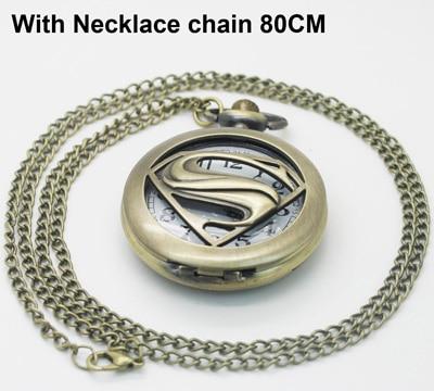 Озен(1057) Винтаж латунь открытые Супермен с карманные часы Цепочки и ожерелья - Цвет: with necklace chain