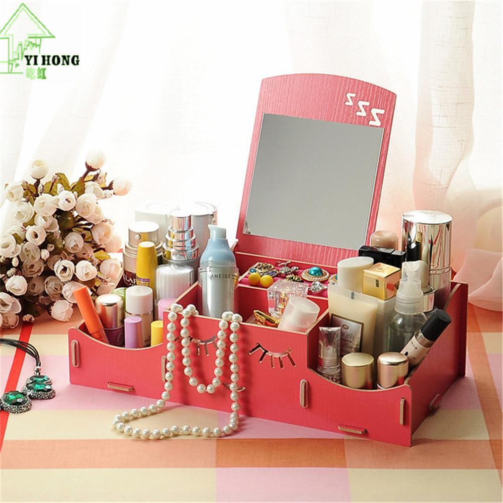 YIHONG Wooden Cosmetic Box Cute Cat Pen Box Desktop Storage Assembly DIY Wood Makeup Organizer Jewelry Storage Box A1022c
