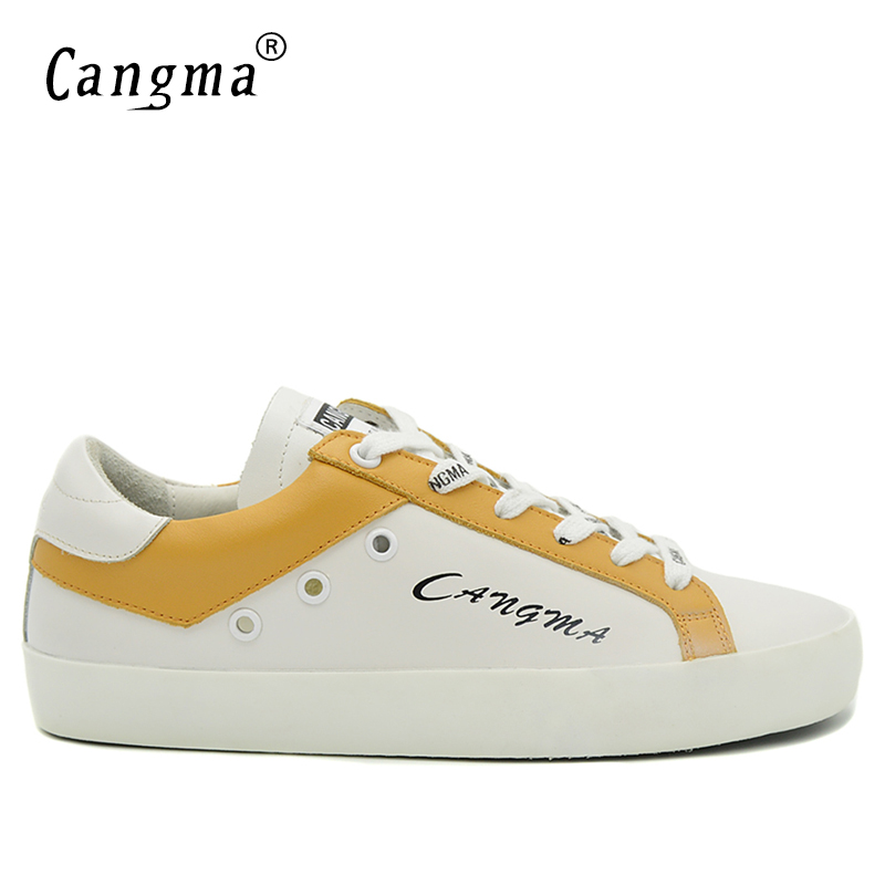 CANGMA Original Mens Casual Shoes White And Yellow Handmade Genuine Leather Sneakers Bass Breathable Scarpa Plus Size Man Shoes