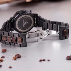 Image 4 - BOBO BIRD luxury Stainless Steel Wood Watches Men Chronograph Date Display Quartz Wristwatches Relogio Masculino Dropshipping