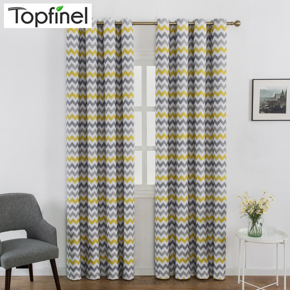 Topfinel Thick Thermal Insulated Blackout Curtains Window Treatment Printed Wave Stripes Drapes For Living Room Bedroom Kitchen