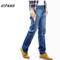 ICPANS 2018 Jeans Multi pocket Zipper Casual Straight Elastic Stretch Military Cargo pants Big Size 42 44 46