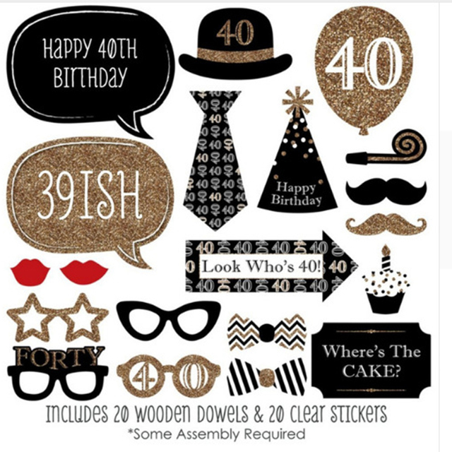 16th 30th 40th Happy Birthday Party Decorations Photo Booth Props ...