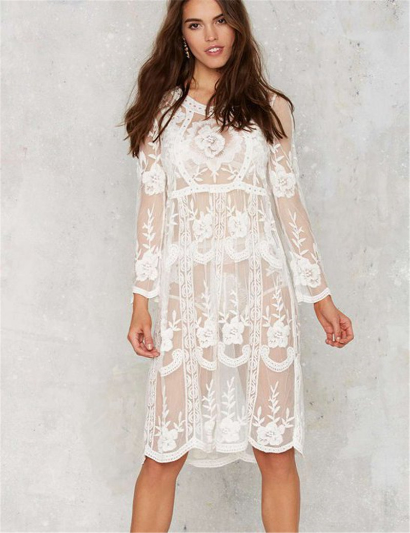 Sexy White Floral Lace Beach Cover Up Long Sleeve Midi