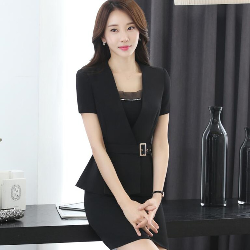 New spring fashion professional women skirt suit summer elegant formal blazer and skirt office ladies plus size uniforms