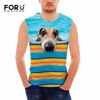 FORUDESIGNS Stylish Men Sleeveless Vest Summer Fitness Tank Tops For Boys Funny 3D Dogs O Neck