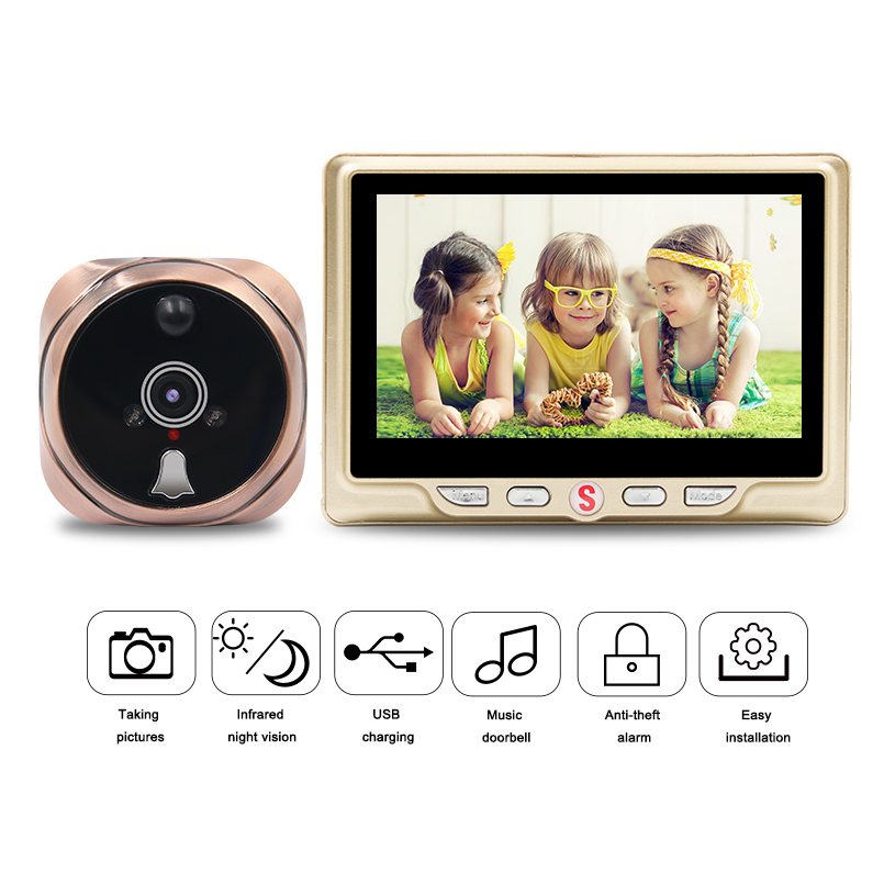 4.3 inch Digital Door Camera Doorbell LCD Color Screen Multi-function Wide angle Peephole Viewer Door Eye Doorbell4.3 inch Digital Door Camera Doorbell LCD Color Screen Multi-function Wide angle Peephole Viewer Door Eye Doorbell