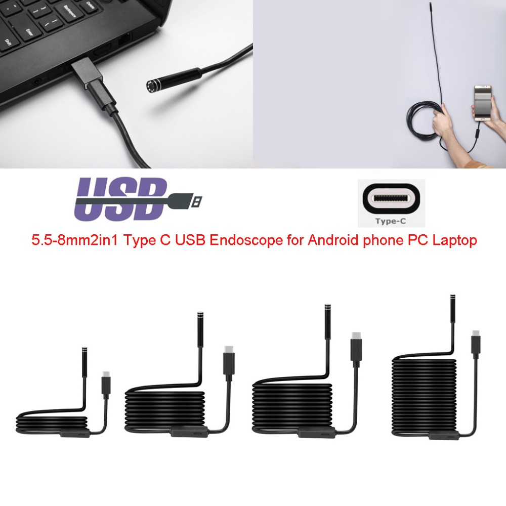 1M 3M 5M 7M 10M Soft Cable TYPE-C Endoscope with 8mm Lens 8LED Waterproof Inspection Borescope Mini Camera for TYPE-C Android PC