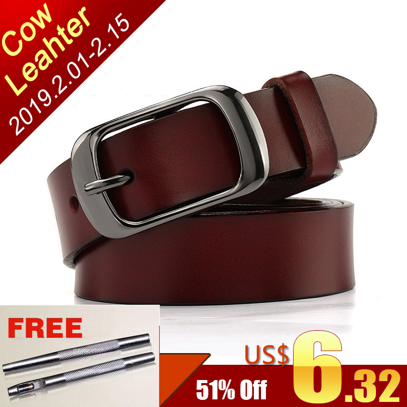 0f59e61500a1e SAN VITALE New Designer Fashion Women s Belts Genuine Leather Brand Straps  Female Waistband Pin Buckles Fancy Vintage for Jeans