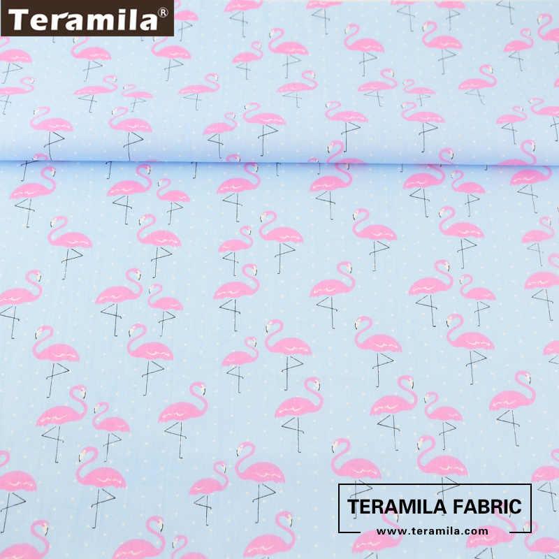 Teramila Ткань новых печатных Розовый и красный цвет-журавлей Животные конструкции мягкий синий 100% хлопок Материал кровать Лист лоскутное Шторы