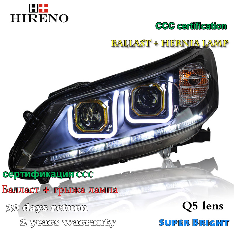 Hireno Car styling Headlamp for 2013-2015 Honda Accord Headlight Assembly LED DRL Angel Lens Double Beam HID Xenon 2pcs hireno car styling headlamp for 2003 2007 honda accord headlight assembly led drl angel lens double beam hid xenon 2pcs