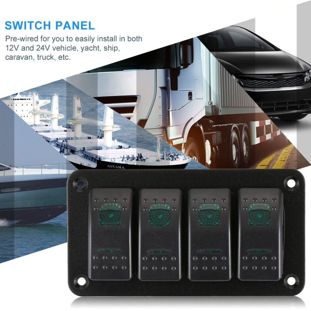 4 Gang LED Rocker Switch Circuit Breaker Control Panel Car Marine Boat ON-OFF US