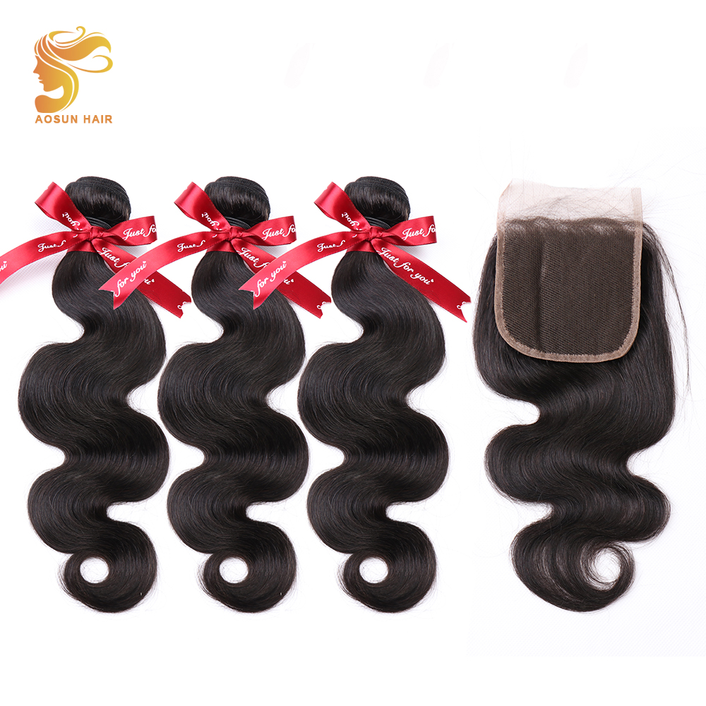 AOSUN HAIR Body Wave Bundles With Closure Peruvian Remy Hair Weave Bundle With Closure 100 Human