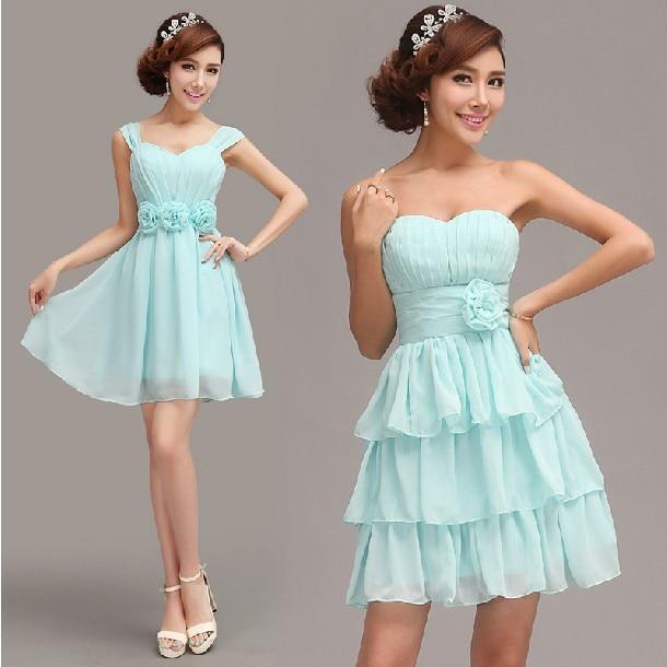 Free Shipping 6 Designs Blue Homecoming Dresses Bridesmaid Wedding ...