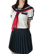 Free shipping Short Sleeves Sailor School Uniform Cosplay Costume