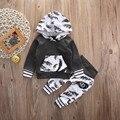 Bebê recém-nascido Roupas Roupas Das Meninas Dos Meninos Com Capuz Tops T-shirt Com Capuz + Calça Definir