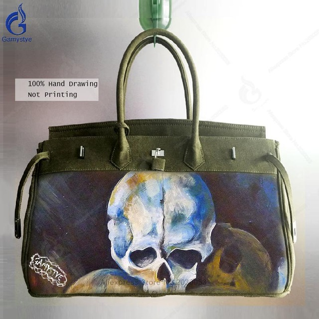 51ef86e4ba2f Casual Canvas Bags for Men Messenger Bag Smith Big Satchel Hand Painted  Skull Travel Totes with Lock Crossbody Shoulder Handbags