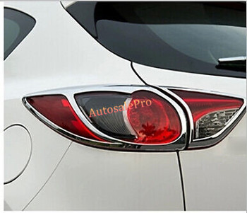 ABS Chrome Rear Tail Light Lamp Cover Trim 4pcs For Mazda CX-5 CX5 2012 - 2015