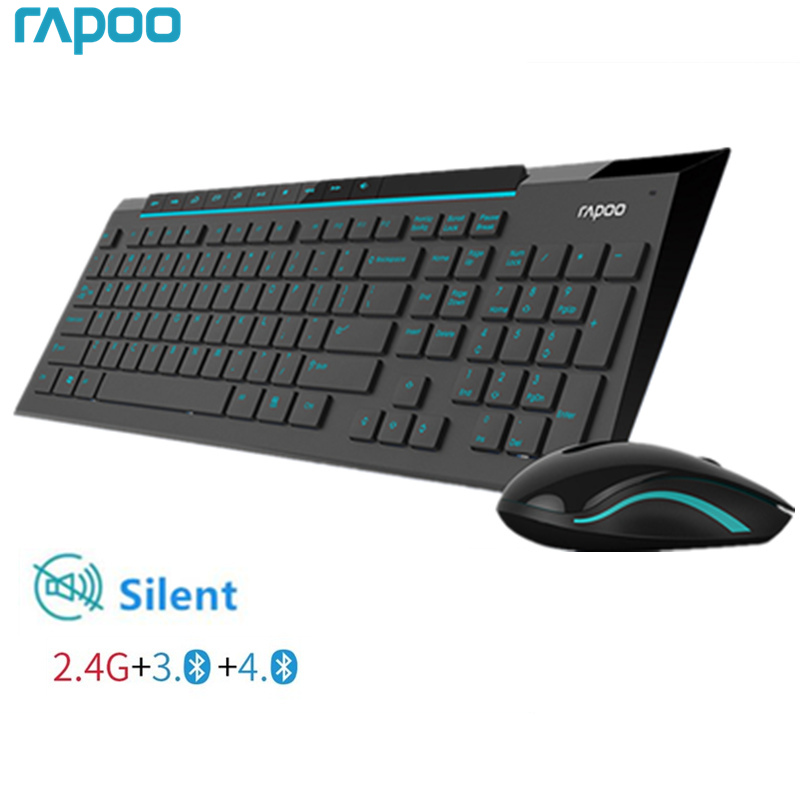 Rapoo Multimedia Wireless Keyboard Mouse Combos with Fashionable Ultra Thin Whaterproof Silent Mice for Computer PC
