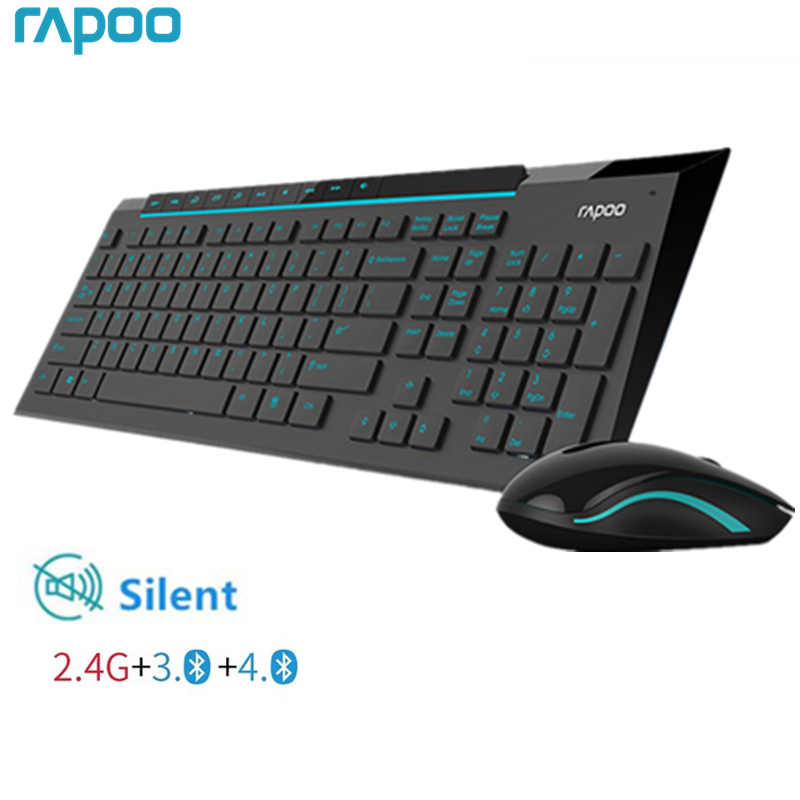 Rapoo Multimedia Wireless Keyboard Mouse Combo dengan Modis Ultra Tipis Whaterproof Silent Mice untuk Komputer PC Gaming TV