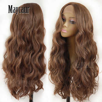 Maycaur Hair Middle Brown Color Long Body Wave Hair Lace Wigs Glueless Heat Resistant Synthetic Lace Front Wigs for Black Women - Category 🛒 Hair Extensions & Wigs