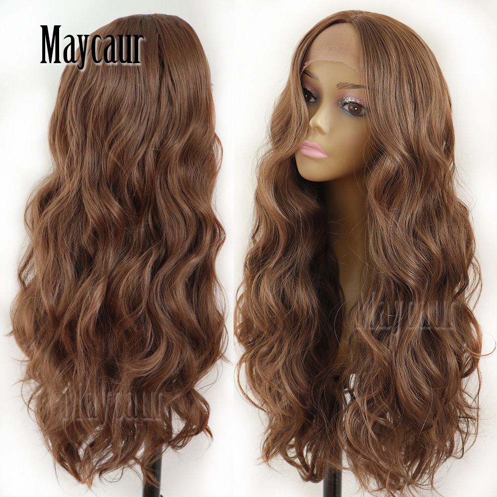 Maycaur Hair Middle Brown Color Long Wavy Hair Lace <font><b>Wigs</b></font> Glueless Heat Resistant Synthetic Lace Front <font><b>Wigs</b></font> for Black Women image
