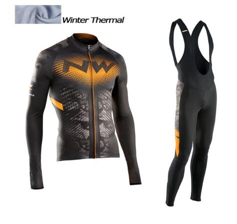 2017 NW Winter Thermal Fleece Cycling Jersey Long Sleeve Jerseys Cycling Bib Pants Set Bike Bicycle Cycling Clothes 3 Color 3d silicone cube 2012 team long sleeve autumn bib cycling wear clothes bicycle bike riding cycling jerseys bib pants set